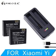 NEW High Quality 2Pcs 1010mah YI AZ13-1 battery + USB Dual Charger For Xiaomi yi Action Camera xiaomi accessories