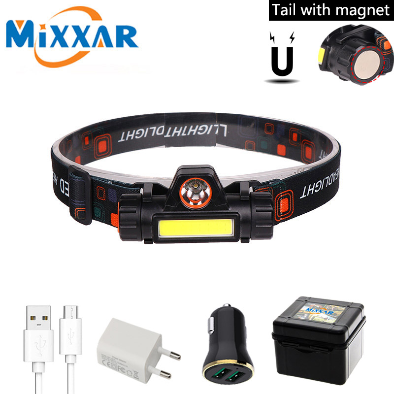 Portable Mini LED Headlamp Headlight Rechargeable Built-in 18650 Battery Magnet Camping Flashlight Head Torch Lamp Light