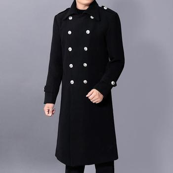 Long dust coat Men Winter Warm Trench Woolen Cloth Coat Mens Double Breasted Slim Casual Jackets Solid Business Outwear ursporttech fashion coat men wool coat winter warm solid long trench jacket breasted business casual overcoat male woolen coat
