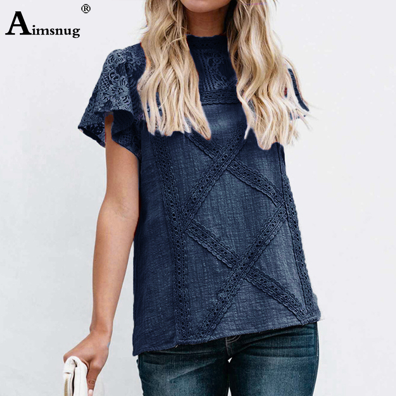 H2a1a7ed40d3d461293a26a4e404c67098 - Aimsnug Women White Elegant T-shirt Lace Patchwork Female O-neck Hollow Out Shirt Summer New Solid Casual Women's Tops
