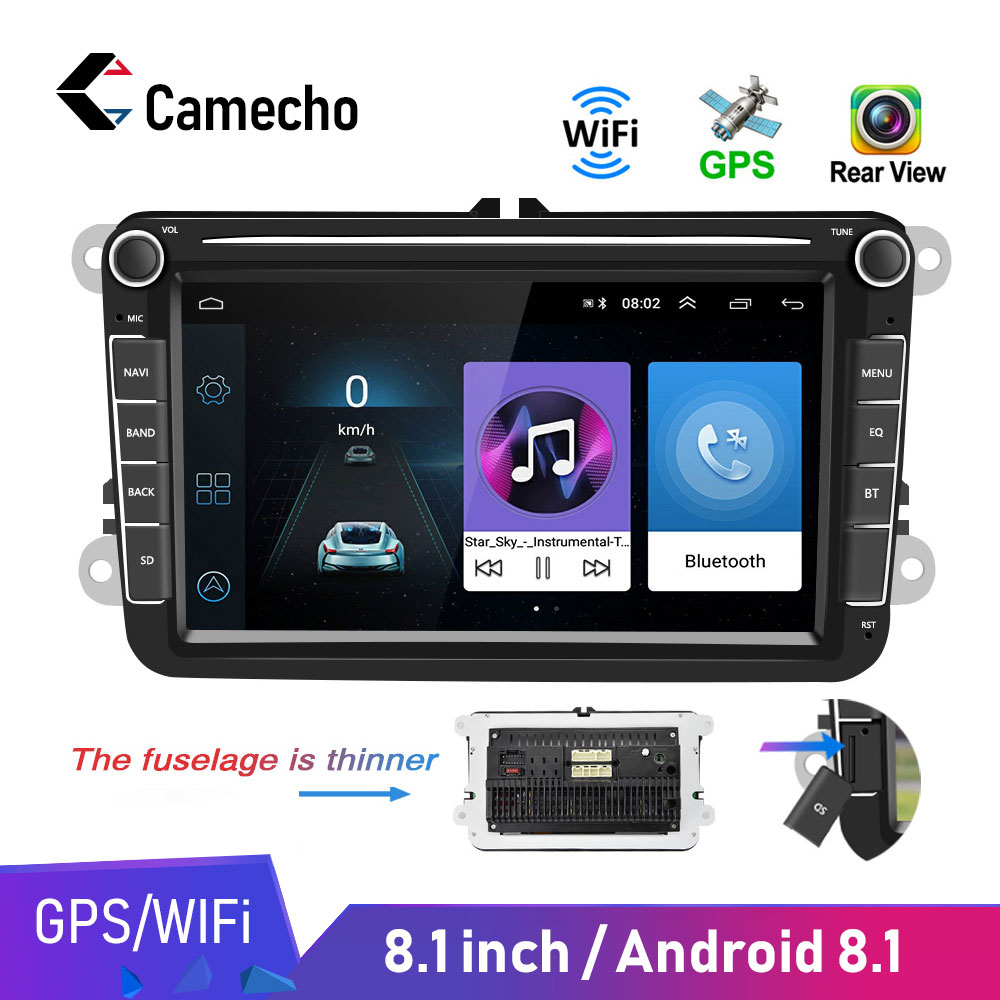 Camecho Car Multimedia player Android 8.1 GPS 2 Din Car Autoradio Radio For VW/Volkswagen/<font><b>Golf</b></font>/Polo/Passat/b7/b6/SEAT/leon/Skoda image
