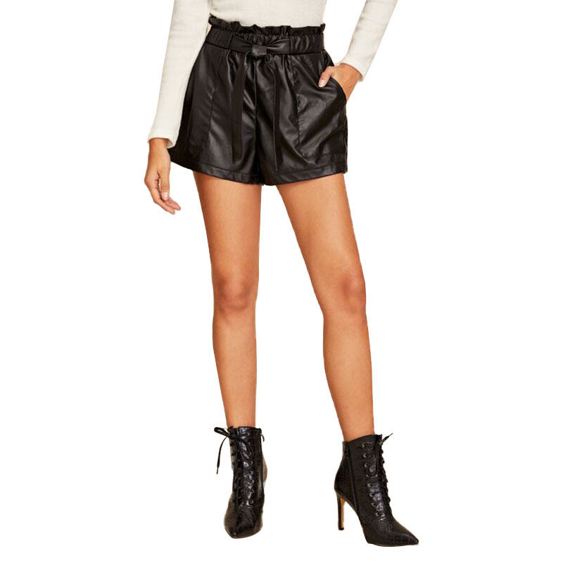 2020 Womens Black PU Leather Shorts PVC Wet Look High Waist Paper Bag Hotpants  Ladies Casual OL Costume Pockets Solid