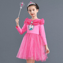 Cosplay Snow Queen Dress Girl Elsa Dress For Girls Princess 2 Cinderella Fancy Children Rapunzel Belle Dress Girl Party Costume цена 2017
