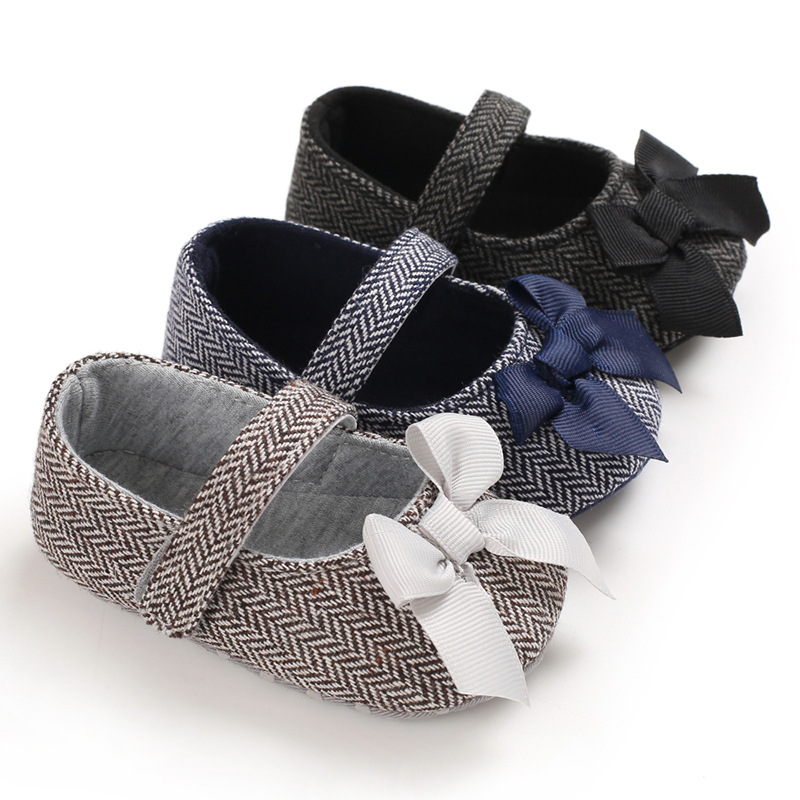 Infant Baby Moccasins Girl Shoes Newborn Gingham Bowknot Quiet Princess Soft Cotton Sole Toddler Cute Crib Shoes