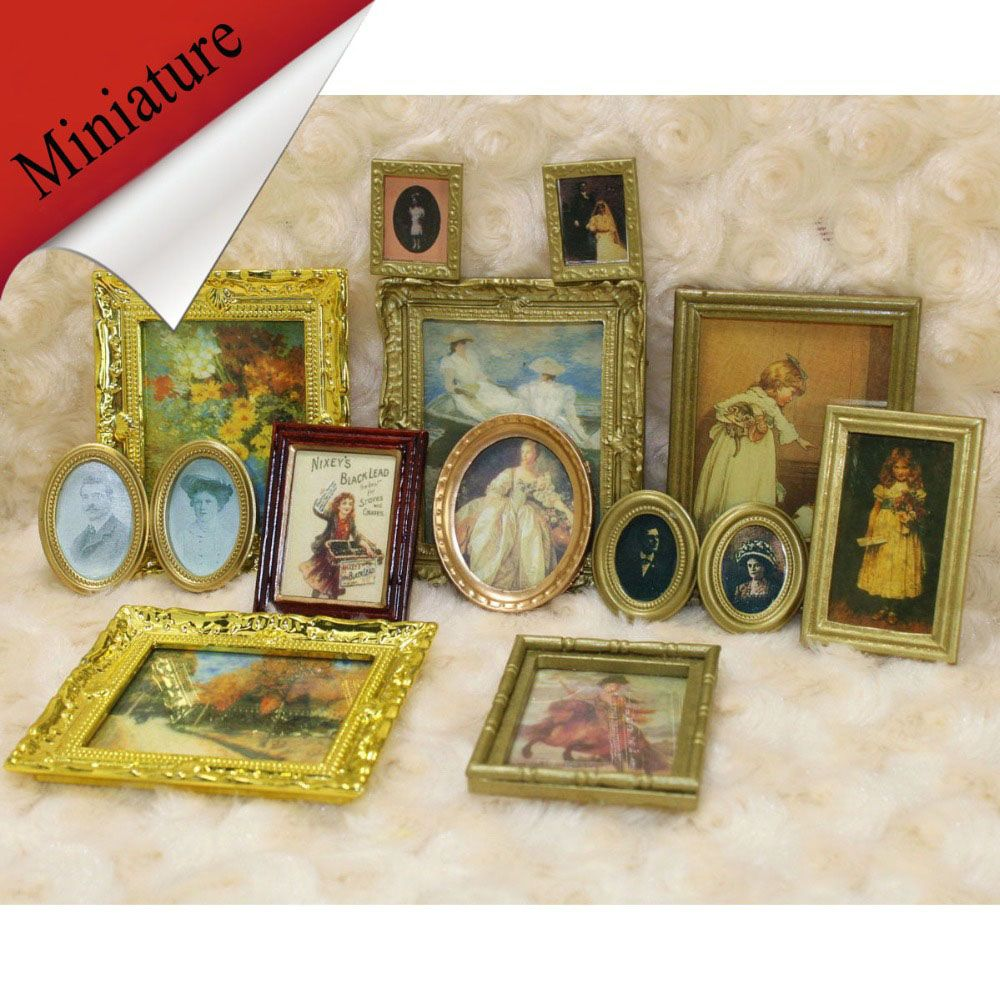 Vintage Mini Dollhouse Framed Wall Painting 1:12 Doll Home Decor Accessorie Jg