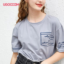 UGOCCAM Basic T-shirt Basic T-shirt Gray Pocket Slogan Letter Print Solid Loose Tee Short Sleeve Round Neck T Shirt Women Summ(China)