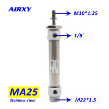 цена air MA 25mm bore mini stainless steel pneumatic cylinders  air pneumatic cylinder 10mm-300mm double acting MA25x175S онлайн в 2017 году