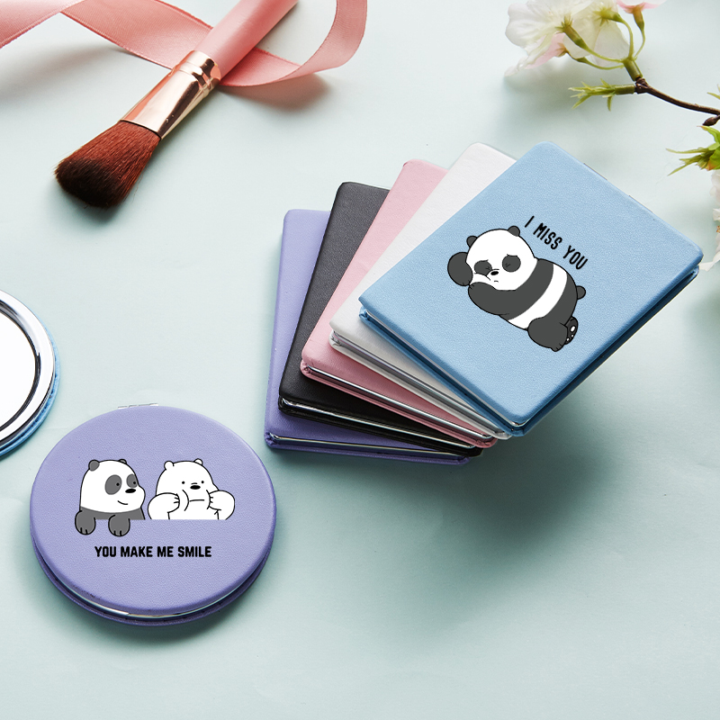 Cartoon Panda Portable Folding Makeup Mirror With Double Side For Girl Letter Magnifying Compact Cosmetic Vanity Pocket Mirrors
