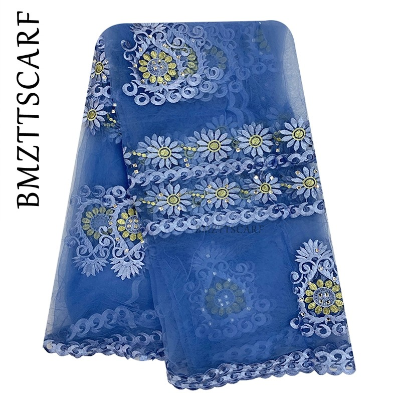 2019 New African Women Scarf Muslim Embroidery Net Scarf Hijab Scarf Big Size Scarf For Shawls BM956