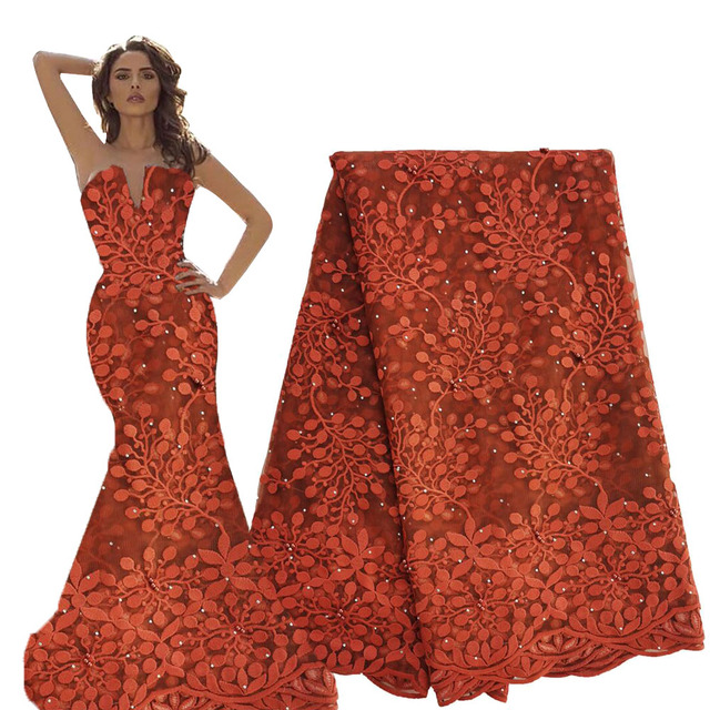Burnt orange nigerian lace fabrics 2020 high quality afrian french tulle net lace fabric with beads and stones lace fabric