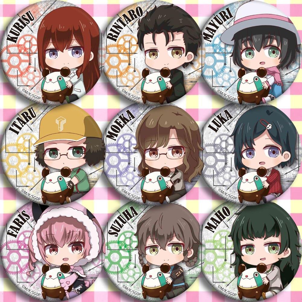 Brdwn Steins Gate 0 Okabe Rintarou Shiina Mayuri Hashida Itaru Makise Kurisu Shining Finger Urushibara Ruka Cosplay Badge