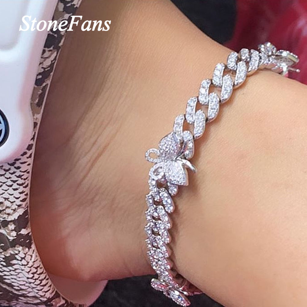 Ingemark Shiny Rhinestone Butterfly Anklet Hip Hop Cuban Link Ankle Chain Bracelet for Women Teen Girls Cute Fashion Music Party Rave Anklet Jewelry
