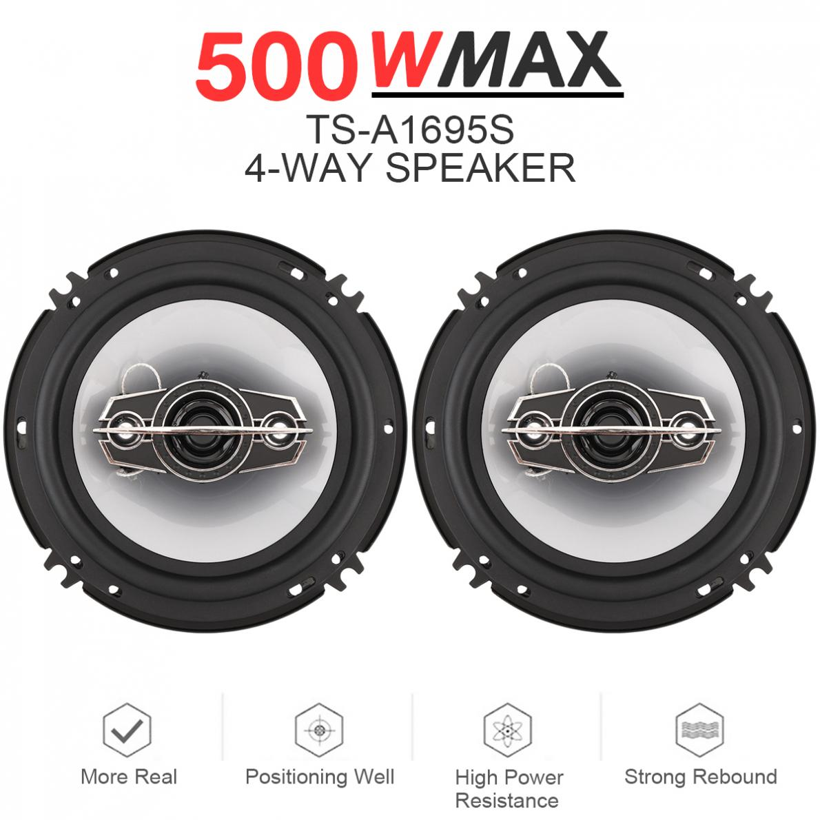 2pcs 6 Inch 500W 4 Way Car Coaxial Hifi Speakers Auto Music Stereo Full Range Frequency Speaker Non-destructive Installation