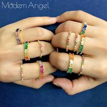 ModemAngel Geometry Trendy Rainbow Color Luxury Party Rings For Women Wedding Cubic Ziron CZ Wedding Dubai Bridal Finger Ring