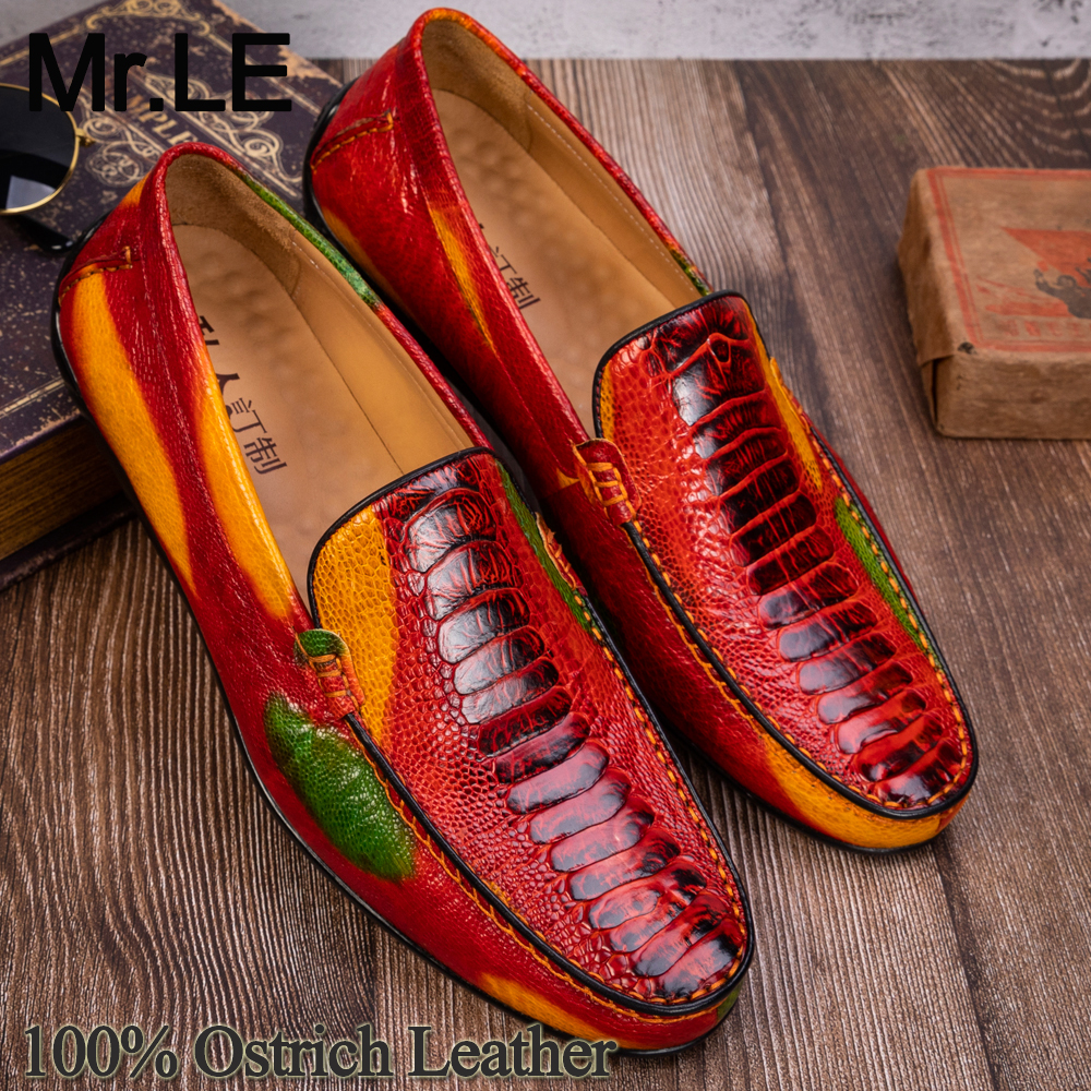 Casual Shoes Men Genuine Leather Shoe Ostrich Party Wedding Dress Brand Luxury Loafer Shoes Leisure Mens