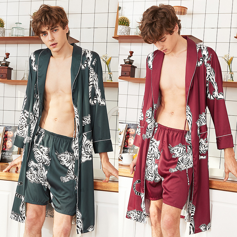 Two Piece Set Night Gowns for Man Robe Sets Costume Sets Men's Bathrobe Silk Summer Pajamas Home Wear Sexy Sleepwear