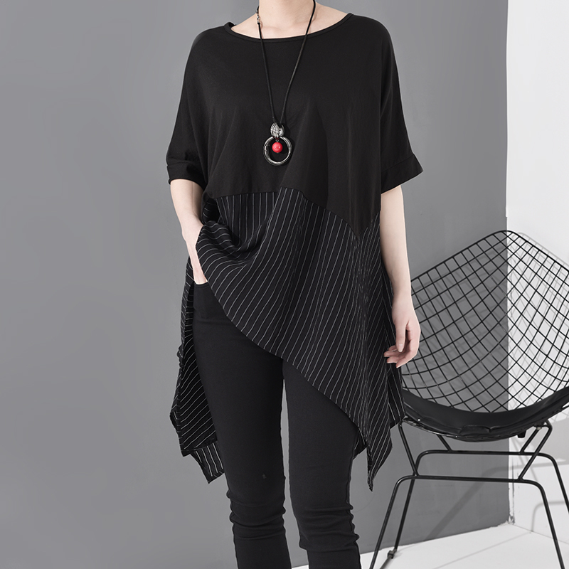 [EAM] Women Black Striped Asymmetrical Big Size T-shirt New Round Neck Short Sleeve  Fashion Tide  Spring Summer 2020 JS953 5