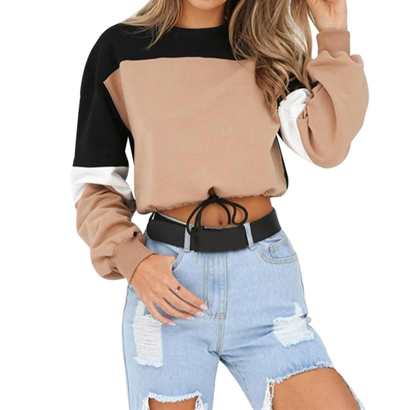 Hot Women Hoodies Long Sleeve Loose Crop Top 2020 Autumn Sweatshirt Casual Patchwork O Neck Elastic Waist Pullovers Streetwear
