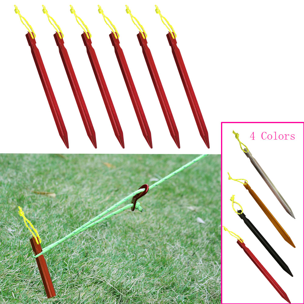 18cm Aluminument Tent Pegs Nails With Rope Stake Camping Hiking Equipment Outdoor Traveling Tent Sand Ground Accessories