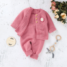 Baby Rompers Winter Warm Knitted Newborn Bebes Girls Sweaters Jumpsuits Long Sleeve Autumn Toddler Infant Kid Overalls One Piece newborn winter baby rompers girls windproof rompers children warm outdoor rompers kids jumpsuits