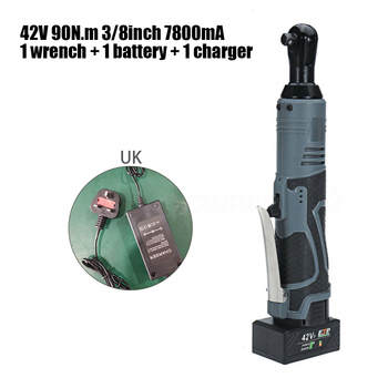 1*Wrench+1*Battery+1*Charger 42V 90N.m 3/8Inch 7800mA Gray Electric Cordless Ratchet Right Angle Wrench