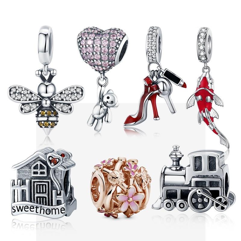 CodeMonkey 925 Sterling Silver Heart Charm Bear Beads Fit Original Pandora Bracelets DIY Pendant Charm Jewelry Making C1054