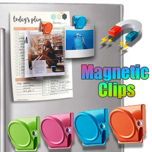 Magnetic Clips, 4Pieces Magnetic Metal Clips, Refrigerator Whiteboard Wall Fridge Magnetic Memo Note Clips Magnets Metal