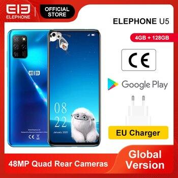 Перейти на Алиэкспресс и купить Новый ELEPHONE U5 4GB 128GB смартфон 48MP Quad камеры заднего 6,4 дюймFHD + безрамочный экран с Экран Helio P60 Octa Core 4000 мАч Android 10,0 NFC