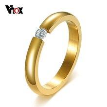 Vnox 3 ملليمتر سوليتير تشيكوسلوفاكيا الحجر الدائري للنساء مجوهرات الزفاف خواتم الخطبة باند ستانلس ستيل الأنيق مزاجه الإناث