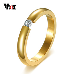 Vnox 3mm Solitaire CZ Stone Ring for Women Wedding Rings Engagement Band Stainless Steel Elegant Temperament Female Jewelry
