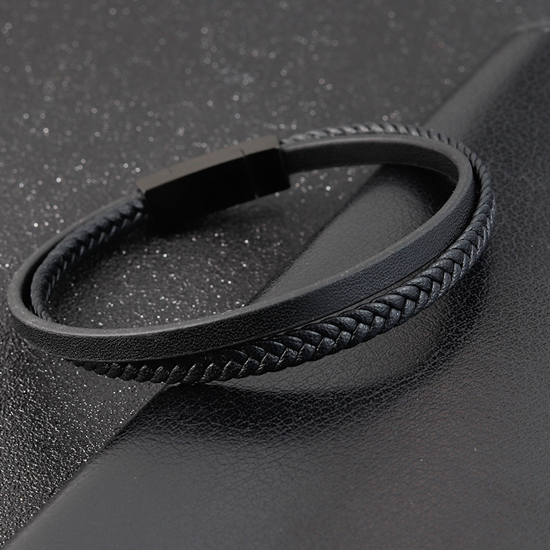 Special Luxury Style Leather Combination Splicing Men's Leather Bracelet Three Colors DIY Size New Year's Surprise Gift