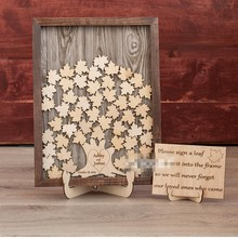Custom Rustic Wood tree Fall Wedding Guest Book, Personalize Engagement Baptism Drop Top, Wedding Leaf Wishing Box Guestbook