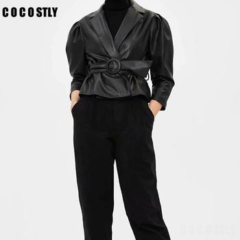 Wiązać pasek w talii skórzana kurtka kobiety moda stałe kurtki ze sztucznej skóry kobiety eleganckie kombinezony z długim rękawem damskie tanie i dobre opinie COCOSTLY Streetwear Faux leather REGULAR NONE Pełna Skręcić w dół kołnierz Krótki Regulowany pas