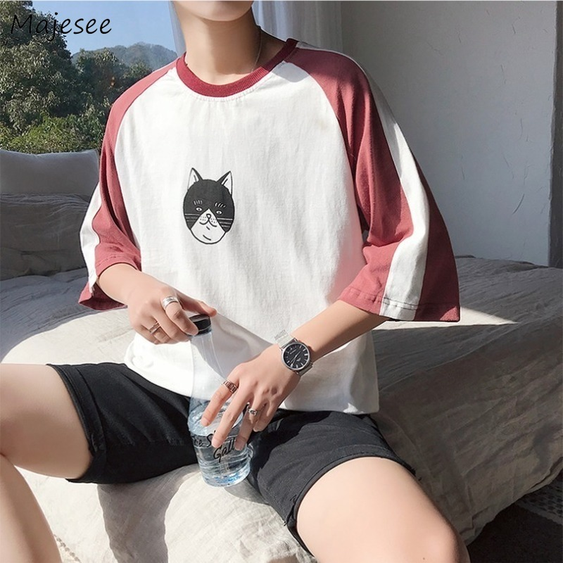 Men Short Sleeve T-shirts All-match Patchwork Streetwear Casual Students Hip Hop Ulzzang  Korean Style Printed Trendy Tshirts