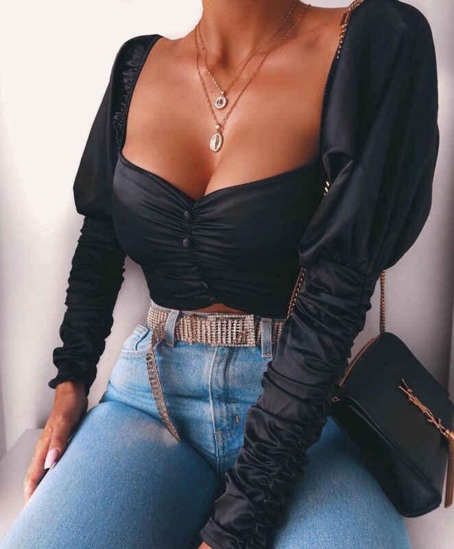 Wanita Musim Panas Kerut-kerut Lengan Panjang T-Shirt Solid Puff Solid Square Leher Wanita Longgar Kasual Sexy Crop Top