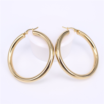 Stainless Steel Hoop Earrings Earrings Jewelry Women Jewelry Metal Color: Diameter 50MM Round