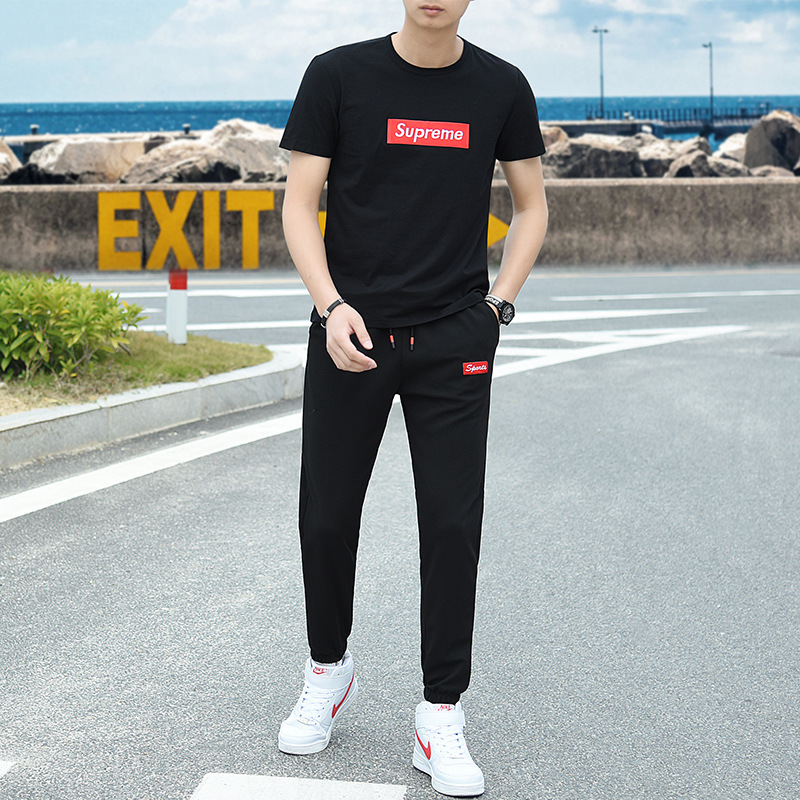 Sports Set Men's Summer Short-sleeved Trousers All-cotton T-shirt Popular Brand Two-Piece Set Running Sports Clothing Casual Kor