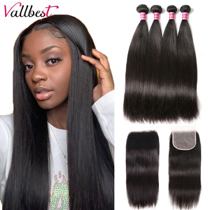Vallbest Straight Hair Bundles With Closure Indian Human Hair 3 Bundles With Closure Remy Hair Extension Free Part Lace Closure