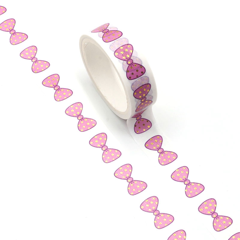 1PC Pink Bowknot Gold Stars Foil Washi Tape Planner Scrapbooking Cute Cinta Adhesiva Decorativa Masking Tape Japanese Stationery