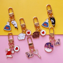 lucky cats Lucky cats Cartoon Cute Keychain Hello Car Kitty KT Cat Key Chain Men and Women Charm Bag Pendant Accessories Key Ring