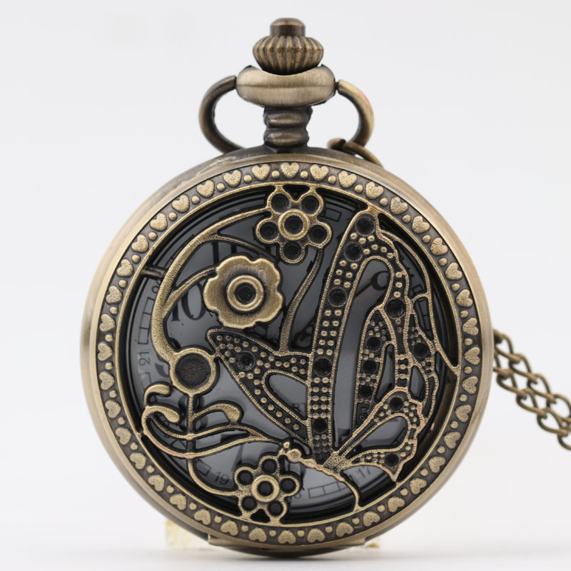 Pocket & Fob Watch Bronze Hollow Out Butterfly  Quartz Pocket Watch Necklace Pendant Watch Chain Xmas Gift for Men/Women