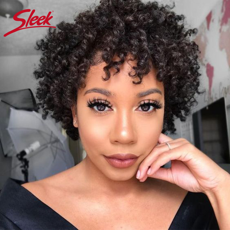 Sleek Curly Human Hair Wig 100% Remy Brazilian Hair Wigs Short Wigs 8 Inch Curly Wigs F1b/33 Cheap Wigs 100% Real Human Hair Wig