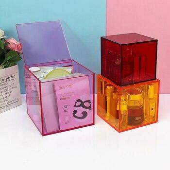 Decoración del hogar de escritorio caja de almacenamiento cosméticos pintalabios Oficina cubierta de acrílico caja pequeña polvo transparente