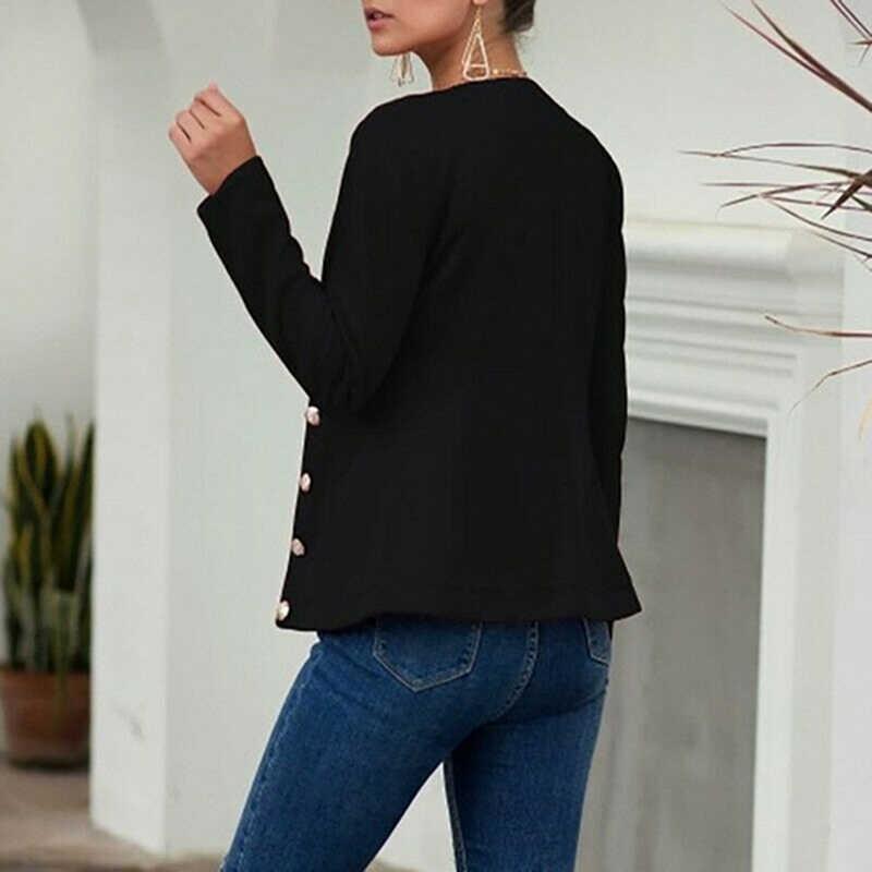 Delle donne di Autunno Giacca Sportiva Sottile Fit Smart casual Button Maniche Lunghe Ufficio Delle Signore del Rivestimento delle Donne di Doppio Petto Giacca Streetwear