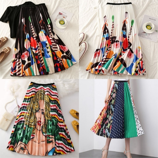 Summer Women Long Pleated Skirt Plus Size Cartoon Print White Black Pleated Skirt Elastic Casual High Waist Skirt.w 1