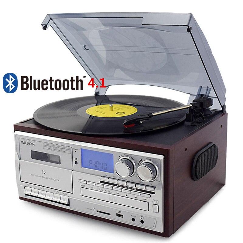 Lecteur de disque vinyle Bluetooth 3 vitesses platine vinyle Vintage lecteur CD et Cassette AM/FM Radio enregistreur USB entrée auxiliaire RCA sortie en ligne