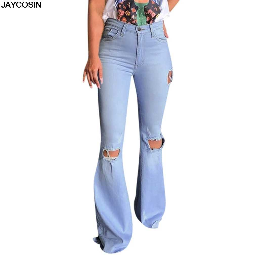 Pantalones Vaqueros De Cintura Alta Para Mujer Jaycosin Mom Jeans Con Cordon De Pierna Ancha Azul Pantalones Palazzo Sueltos 2019 Pantalones Vaqueros De Moda De Otono 9812 Pantalones Vaqueros Aliexpress