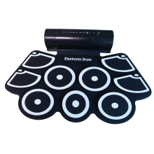 Portable Electronic Roll Up Drum Pad 9 Silicone Pads Built-in Speaker with Drumsticks Foot Pedals USB 3.5mm Audio Cable