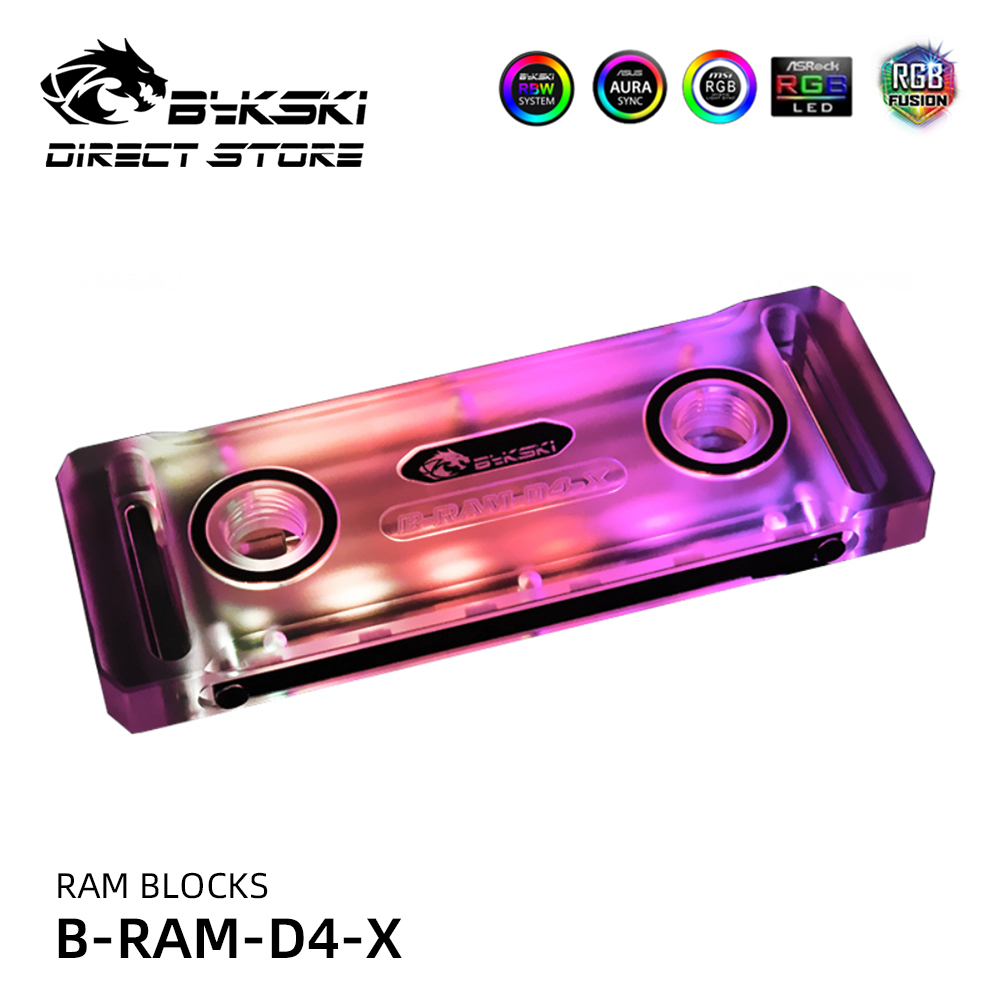 Bykski RAM Block Dual Channel Memory Desktop Cooled Radiator 5V A-RGB MOD Heatsinks Water Cooling Block Liquid Cooler B-RAM-D4-X