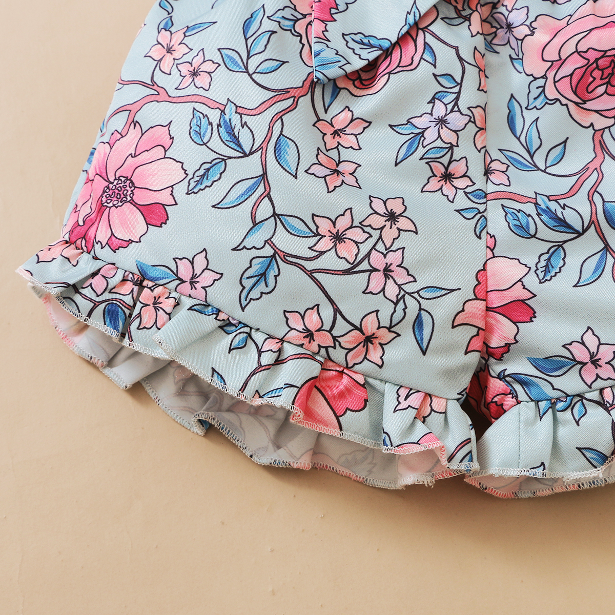 3Pcs Newborn Baby Girls Summer Clothes Cute Beach Boho Strap Ruffle Romper Floral Shorts Toddler Outfit Baby Girls Clothing 6